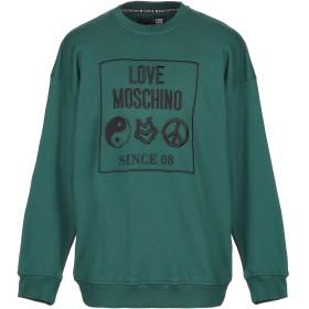 《期間限定セール開催中!》LOVE MOSCHINO メンズ スウェットシャツ グリーン S コットン 100% / ポリウレタン