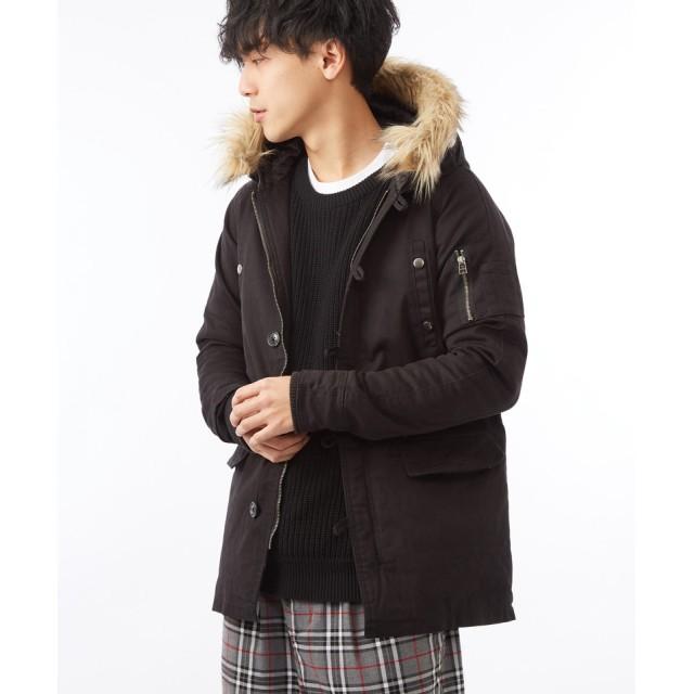 ミリタリージャケット - improves N-3B メンズ ダウン ショート ジャケット モッズコート メンズ レディース ファー付き ファーコート N3B アウター 冬服ミリタリージャケット 中綿 ブルゾン ジャンパー ジャンバー 防寒着 カーキ ブラック ネイビー 黒メンズ