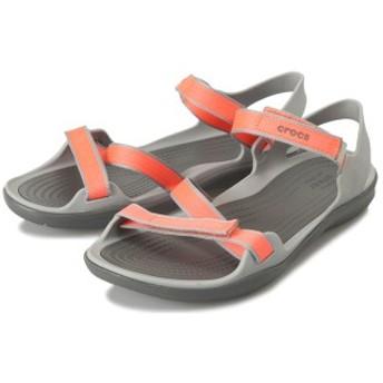 【crocs】 クロックス swiftwater webbing sandal w スイフトウォーターウェビングサンダル 204804-001 Coral/LightGrey 25cm