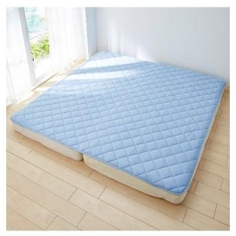 接触冷感×吸汗速乾タオル地リバーシブル敷パッド(ファミリー用) 敷きパッド・ベッドパッド