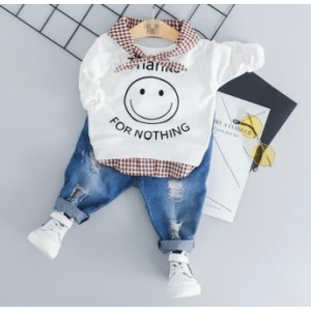春秋 ベビー子供服 キッズ用 パーカーTシャツ デニムパンツ上下セット 赤ちゃん カジュアルウェア 可愛い 女の子男の子