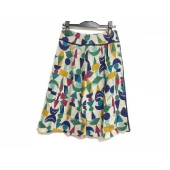 【中古】 ホコモモラ JOCOMOMOLA スカート サイズ40 XL レディース 美品 アイボリー マルチ