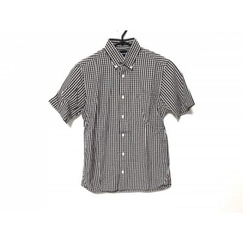 【中古】 フレッドペリー FRED PERRY 半袖シャツ サイズXS メンズ 黒 白 チェック柄/刺繍