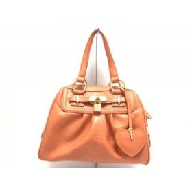 【中古】 サマンサタバサ Samantha Thavasa ハンドバッグ オレンジ 型押し加工 合皮