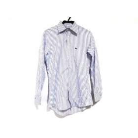 【中古】 バーバリーブラックレーベル 長袖シャツ サイズ39 メンズ 白 ブルー ストライプ