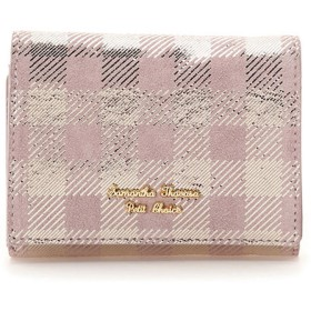 サマンサタバサプチチョイス ピッグレザーチェックシリーズ ファスナー折財布 ラベンダー