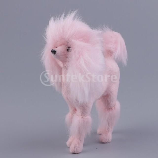 FLAMEER 可愛い プードルぬいぐるみ 中空モデル 装飾工芸品 11x10cm 贈り物  ピンク