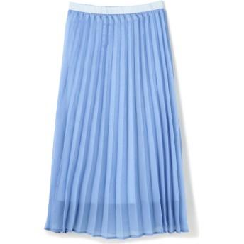 光沢プリーツスカート ブルー