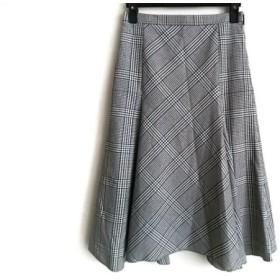 【中古】 ニジュウサンク ロングスカート サイズ32 XS レディース 黒 アイボリー ボルドー 千鳥格子