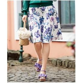 スカート ひざ丈 大きいサイズ レディース 花柄 ゆったり ヒップ  106〜98 ニッセン