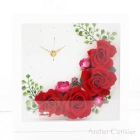 花時計(レッド)フラワークロック<プリザーブドフラワー>【母の日】