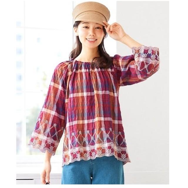 大きいサイズ レディース 7分袖裾刺しゅう ブラウス  L〜10L ニッセン