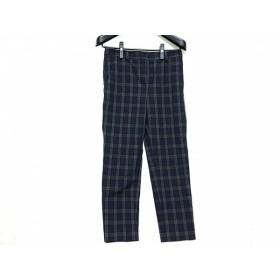 【中古】 セオリーリュクス パンツ サイズ38 M レディース 黒 ネイビー ダークグレー チェック柄