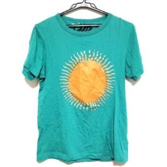 【中古】 ポールスミス PaulSmith 半袖Tシャツ サイズM レディース ライトグリーン オレンジ シルバー