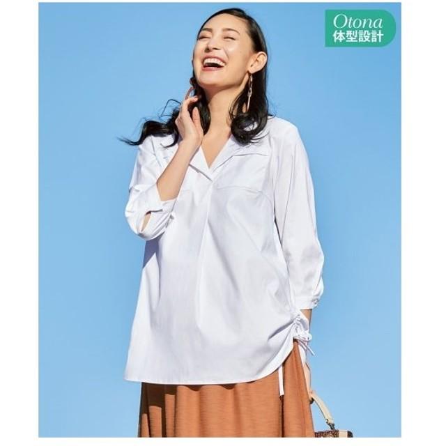 大きいサイズ レディース 脇シャーリングオープン カラー ブラウス  10LC〜LLC ニッセン
