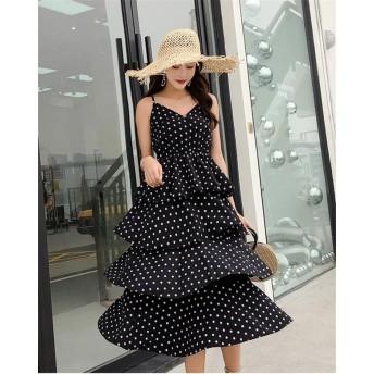 [55555SHOP]【春夏新品発売】韓国ファッション 韓国の原版のドットのワンピース オープンバックのワンピース