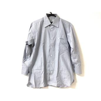 【中古】 ジバンシー GIVENCHY 長袖シャツ メンズ グレー 白 ストライプ/イニシャル縫い付け/ネーム刺繍