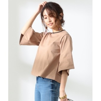 BEAMS LIGHTS / 手洗い可能 フェイクレザー ネック カットソー レディース カットソー BEIGE ONE SIZE