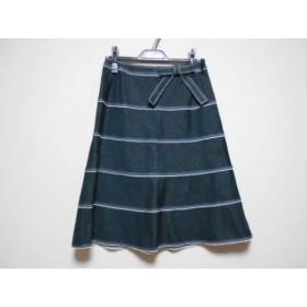 【中古】 エムズグレイシー スカート サイズ38 M レディース 美品 ダークグレー 白 リボン/ラメ