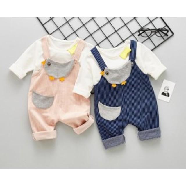 ベビー子供服 キッズ用 カバーオール+Tシャツ2点セット 赤ちゃん春秋 柔らかい カジュアルウェア  可愛い 男の子 女の子