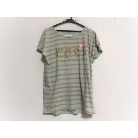 【中古】 ツモリチサト 半袖Tシャツ サイズ2 M レディース ライトブルー ピンク ゴールド ボーダー