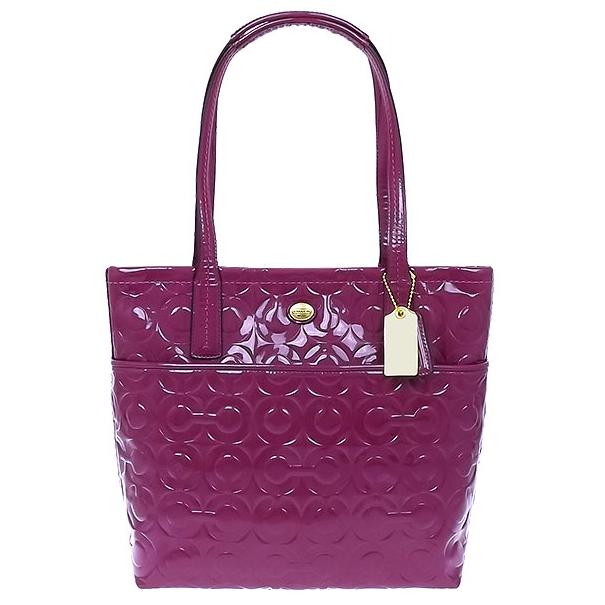 COACH 美國新款漆皮亮面CLOGO肩背包(紫)