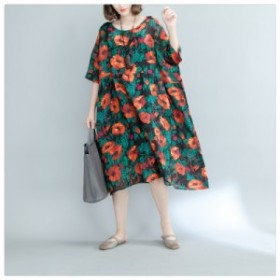 花柄 ママワンピ 半袖 ゆったり 個性的 体型カバー 袖付き  女性 カジュアル ファッション Aライン ワンピース ミモレ レディース