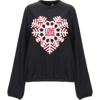 《9/20まで! 限定セール開催中》LOVE MOSCHINO レディース スウェットシャツ ブラック 38 コットン 88% / ポリエステル 12%
