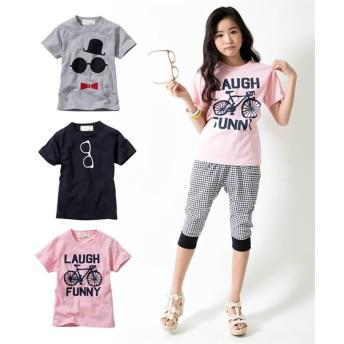 綿混アメカジプリント半袖Tシャツ3枚組(男の子。女の子 子供服。ジュニア服) Tシャツ・カットソー
