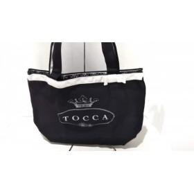 【中古】 トッカ TOCCA トートバッグ 黒 ライトグレー リボン キャンバス
