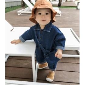 ベビー赤ちゃん服 カバーオール ロンパース デニム コットン 可愛い 春秋 長袖 キッズ子供服 柔らかい カジュアルウェア