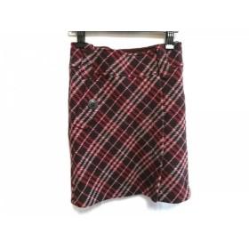 【中古】 バーバリーブルーレーベル スカート サイズ38 M レディース ボルドー アイボリー マルチ