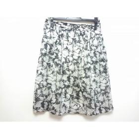 【中古】 ニジュウサンク 23区 スカート サイズ40 M レディース 黒 白 ライトグレー 花柄