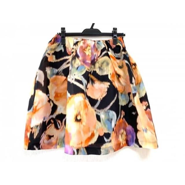 【中古】 ミュラーオブヨシオクボ スカート サイズ38 M レディース 黒 オレンジ マルチ
