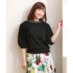 衿ビジュー付5分袖ニット (ニット・セーター)(レディース),Knitting