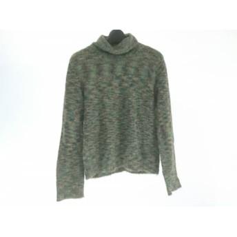 【中古】 ニジュウサンク 長袖セーター サイズ38 M レディース グリーン カーキ マルチ タートルネック