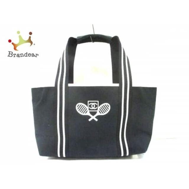 656db29e66f0 シャネル CHANEL トートバッグ スポーツライン 黒×白 ココマーク/刺繍 キャンバス×レザー