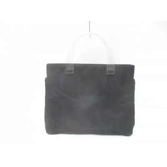 【中古】 プラダ PRADA ハンドバッグ - 黒 クリア ナイロン プラスチック