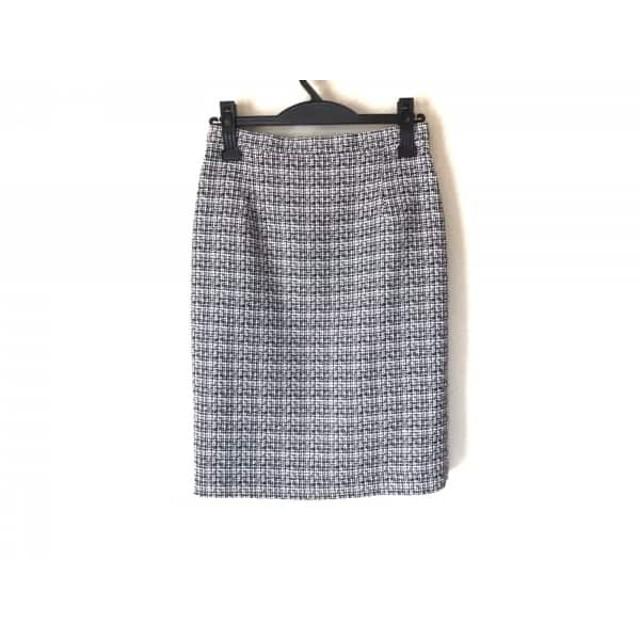 【中古】 ピンキー&ダイアン Pinky & Dianne スカート サイズ38 M レディース 美品 黒 白 ツイード/ラメ
