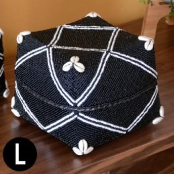 収納ケース 収納ボックス ビーズ製 蓋つき ダイヤ柄 約20×20cm ブラック アジア雑貨 バリ雑貨 アジアン リゾート おしゃれ
