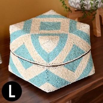 収納ケース 収納ボックス ビーズ製 蓋つき ダイヤ柄 約20×20cm 白×ブルー アジア雑貨 バリ雑貨 アジアン リゾート おしゃれ