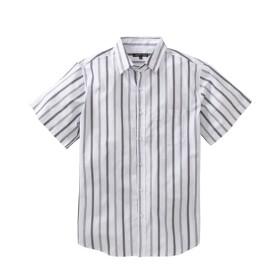 衿まわりキープ ストライプ柄半袖シャツ プチメガ カジュアルシャツ