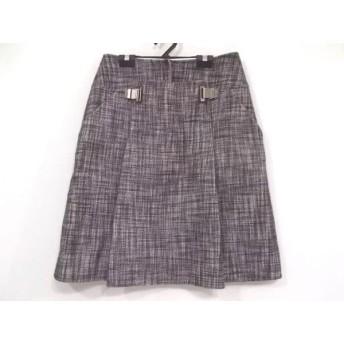 【中古】 セリーヌ CELINE スカート サイズ40 M レディース ダークブラウン 白 ツイード