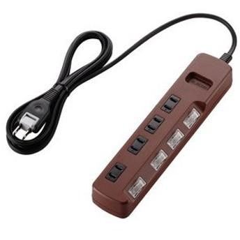 エレコム ELECOM OAタップ coler style 雷ガード 個別スイッチ 4個口 2m ブラウン T-BR02-2420BR