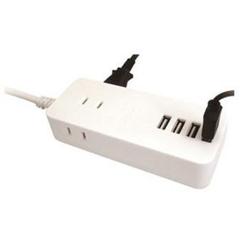 トップランド 4USB スマートコードタップ (3個口+USB4ポート 1.5m)ホワイト TOPLAND TPU15-WT 返品種別A