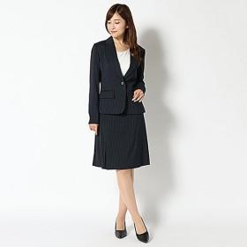 【ピュアラスト】キャリア3点スーツ (レディース) ネイビーストライプ