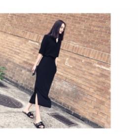 【L~4XL】 大きいサイズ レディース 春 夏 ドレス Vネック ロング カジュアル 五分袖 ドレス ブラック