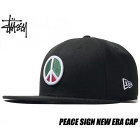 ステューシー キャップ STUSSY PEACE SIGN NEW ERA CAP BLACK 131877 ニューエラ ピースサイン 帽子 6パネル ブラック