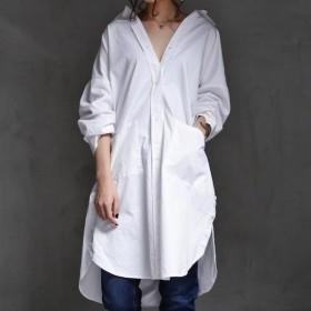 トップス シャツ 綿 綿100% 七分袖 ロング 綿シャツ デザインロングシャツ・再再販。##メール便不可