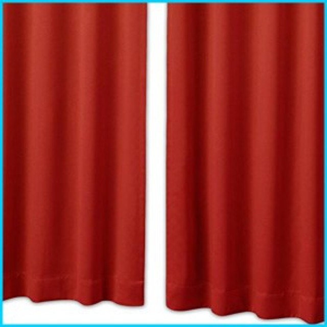 1級遮光 防炎カーテン オーダー感覚17色 幅100×丈105cm 2枚組 Bフック ディープレッド 912000166AA99